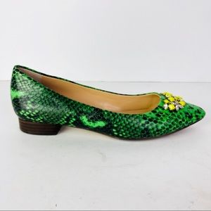 Banana Republic Green Faux Snakeskin Jewel Flats 6